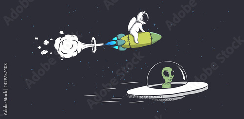 Stampa su Tela competitions alien and astronaut