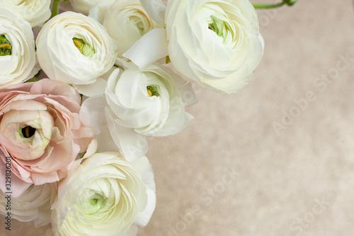 Wallpaper Mural Elegance ranunculus bouquet on the sparkling background