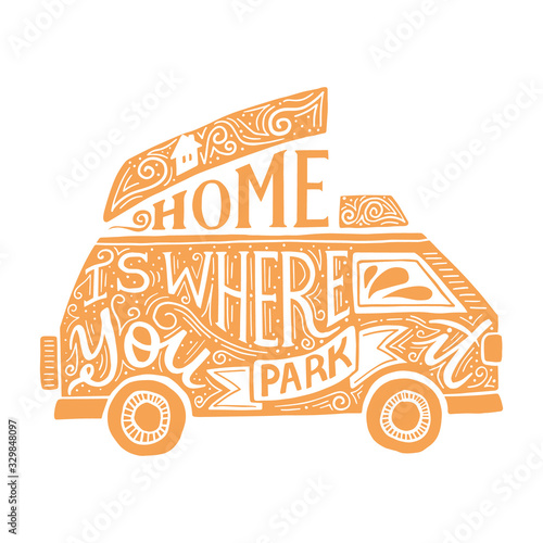 Tablou Canvas Home is where you park it quote