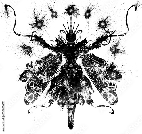 A blotchy textural silhouette of a female sorceress with butterfly wings hovers in the air, arms outstretched Fototapeta