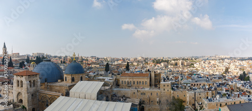 Stampa su Tela View from top of church on wide panorama of eastern part of old city of Jerusale