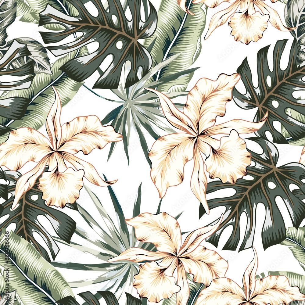 Fototapeta Tropikalne kwiaty orchidei, monstera, liście palm