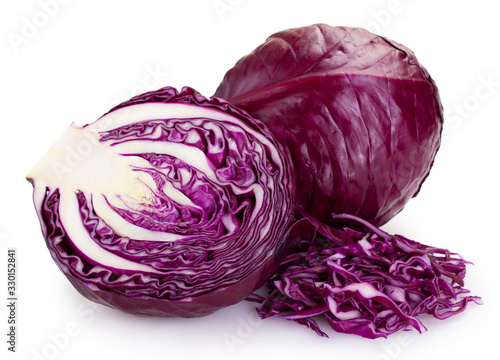 Canvas Fresh red cabbage on white background