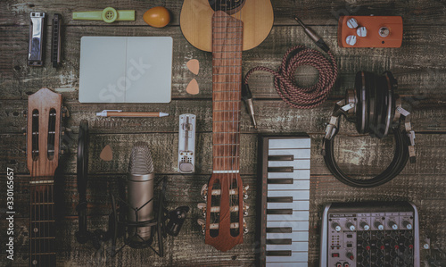Fotografie, Obraz Singer, Songwriter, home recording and music producer flat lay concept
