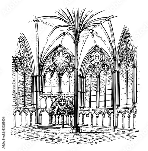Fotografie, Obraz Chapter-house, Salisbury Cathedral, architecture, vintage engraving
