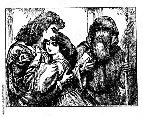Photo Friar Lawrence Marries Romeo and Juliet, vintage illustration