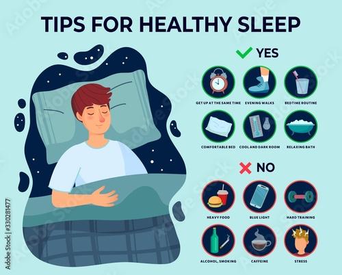 Healthy sleep tips infographics Fototapeta