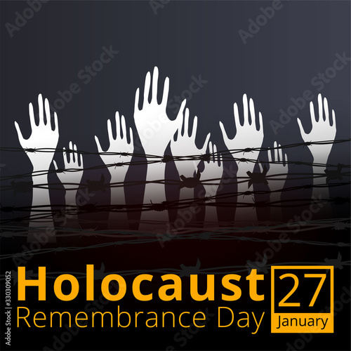Fotografija Jewish star with barbed wire and candles, International Holocaust Remembrance Day poster, January 27