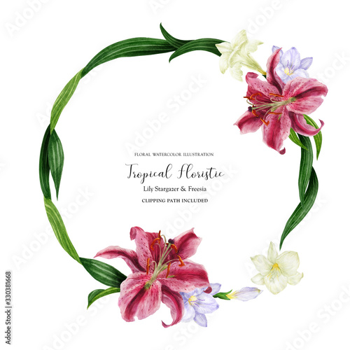 Stampa su Tela Tropical round wreath with stargazer lily and white freesia, watercolor with cli