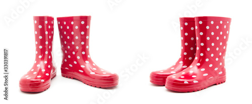 Fotografiet red boots on white background