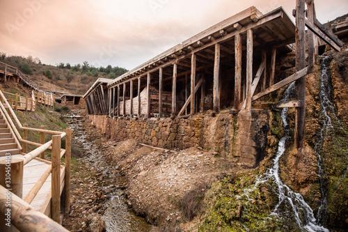Salt flats of the salty valley of Añana in Álava, Basque Country