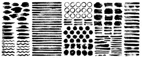 Fotografia, Obraz Dry paint stains brush stroke backgrounds set