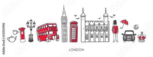 Fotografie, Tablou Vector modern illustration symbols of London, the UK