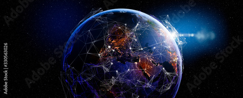 Communication technology for internet business. Global world network and telecommunication on earth and IoT. Elements of this image furnished by NASA #330563026