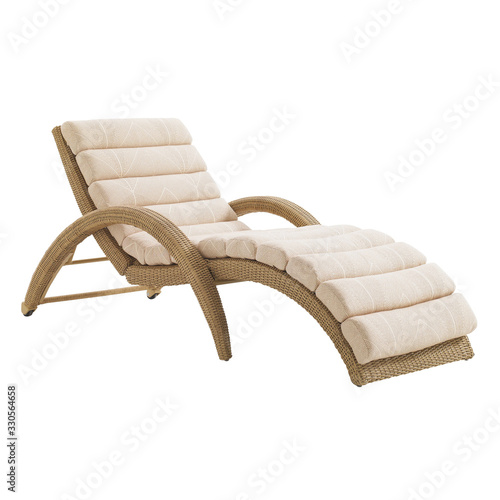 Wicker Chaise Lounge Isolated on White Background Fototapeta