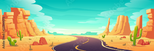 Canvas-taulu Desert landscape with road, rocks and cactuses