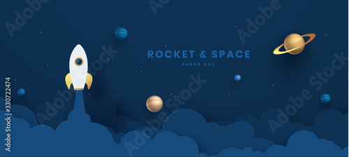 Fotografia Paper art style of rocket flying over the earth, start up concept, flat-style vector illustration Night sky, shining stars, moon, planets, fluffy clouds