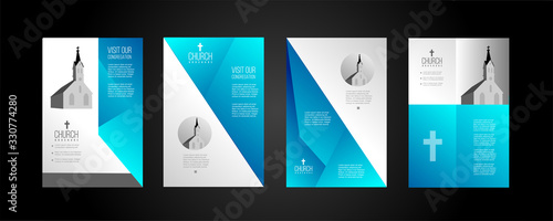 Foto religious church brochure design in blue and grey