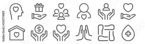 Fotografie, Obraz set of 12 charity icons