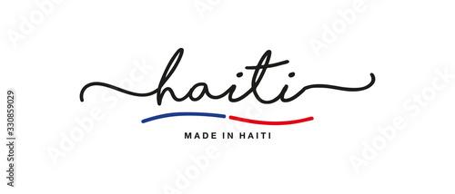 Obraz na plátně Made in Haiti handwritten calligraphic lettering logo sticker flag ribbon banner