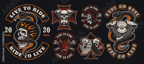 Obraz na płótnie Set of colorful biker emblems