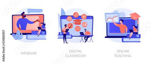 Photo Educational web seminar, internet classes, professional personal teacher service icons set