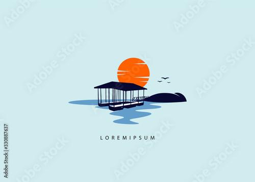 Lake dock lift logo template, dock lift sunset illustration Fotobehang