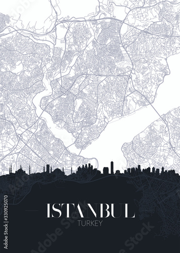 Fototapeta Skyline and city map of Istanbul, detailed urban plan vector print poster