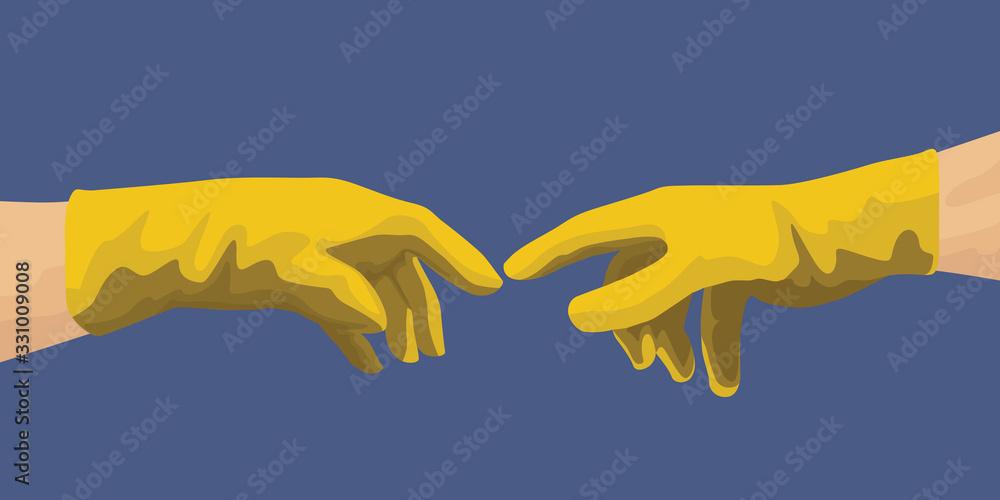 Concept de l'hygiène avec les mains de Michel Ange qui pointent leurs doigts en ayant enfilées des gants de latex pour se protéger de la propagation d'un virus. <span>plik: #331009008 | autor: pict rider</span>
