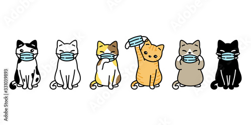 Slika na platnu cat vector face mask covid19 kitten icon corona virus calico logo pet symbol cha