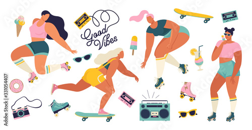 Fényképezés Roller skating girls with record player dancing on the street illustration in vector