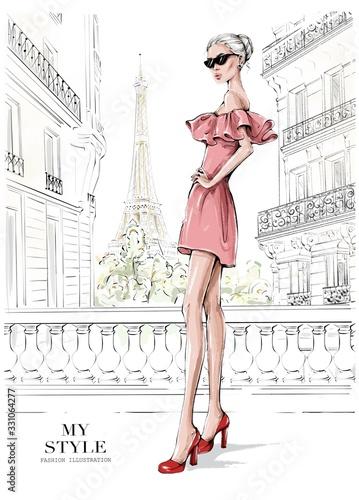 Fotografie, Obraz Hand drawn beautiful young woman in pink dress