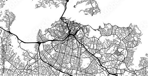 Fototapeta Urban vector city map of Auckland, New Zealand