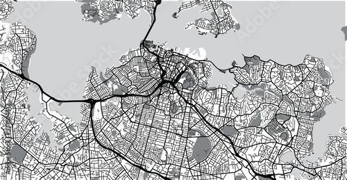 Obraz na plátně Urban vector city map of Auckland, New Zealand