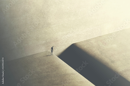 Canvas man thinking about taking big risk to reach the other side with a big jump