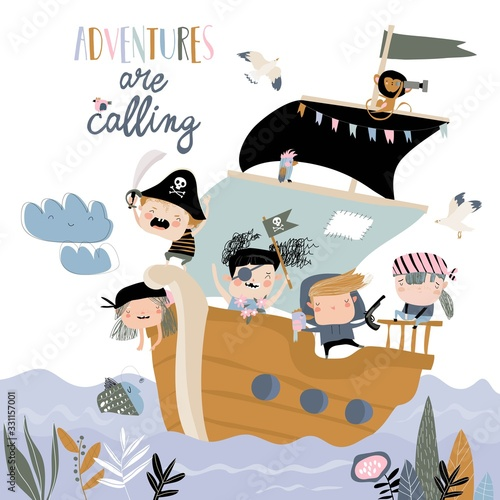 Obraz na płótnie Cute cartoon kids pirates sailing in their ship