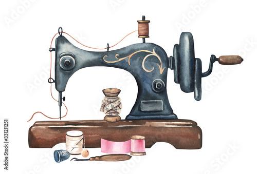 Obraz na plátne Watercolor vintage sewing machine
