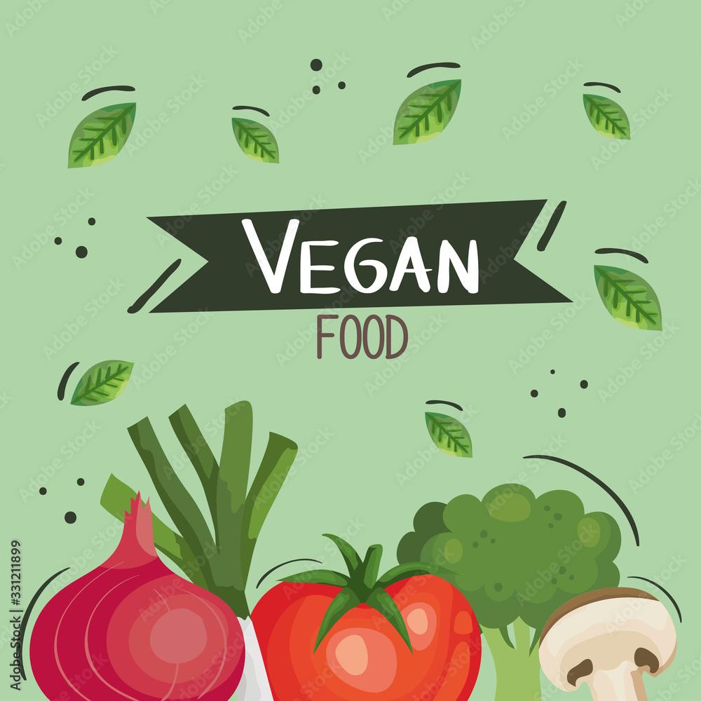 vegan food poster with tomato and vegetables vector illustration design <span>plik: #331211899 | autor: Gstudio</span>