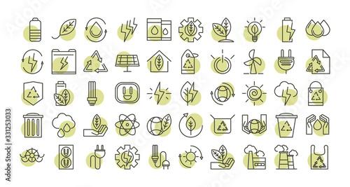 Fotografia sustainable energy alternative renewable ecology icons set line style icon