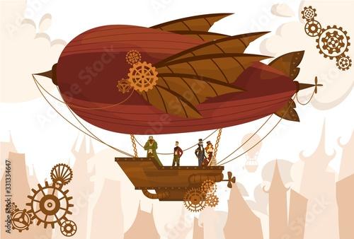 Fototapeta Team characters on balloon, steampunk airship, flat vector illustration