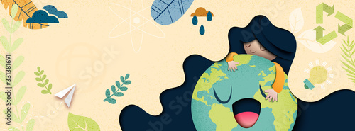 Earth day and World environment day concept.Save the world banner background template vector illustration.