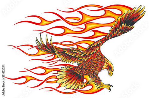 Fototapeta Eagle holding motorcycle engine with flames vector