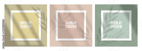 Wall mural Square Paper Mockup with realistic shadows overlays leaves on beige background. Vector Shadow Of A Tropical Plant. Template Flyer, Poster, blank, social media post, logo template in a trendy style