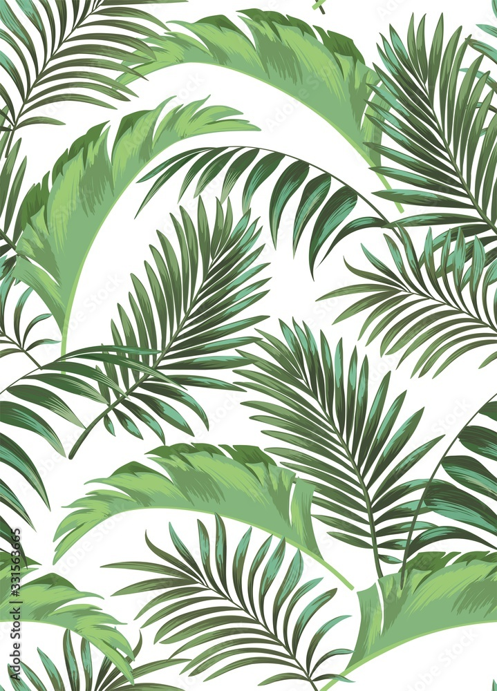 Fototapeta Green tropical palm leaves seamless vector pattern