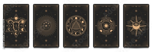 Mystic frame card. Vector illustration set. Divination and prediction cards with emblem mysterious, spirituality esoteric, masonic alchemy symbol