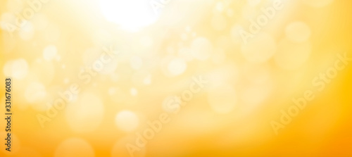 Fotografie, Obraz A blurred golden warm yellow and orange abstract sunny summer sky background Illustration