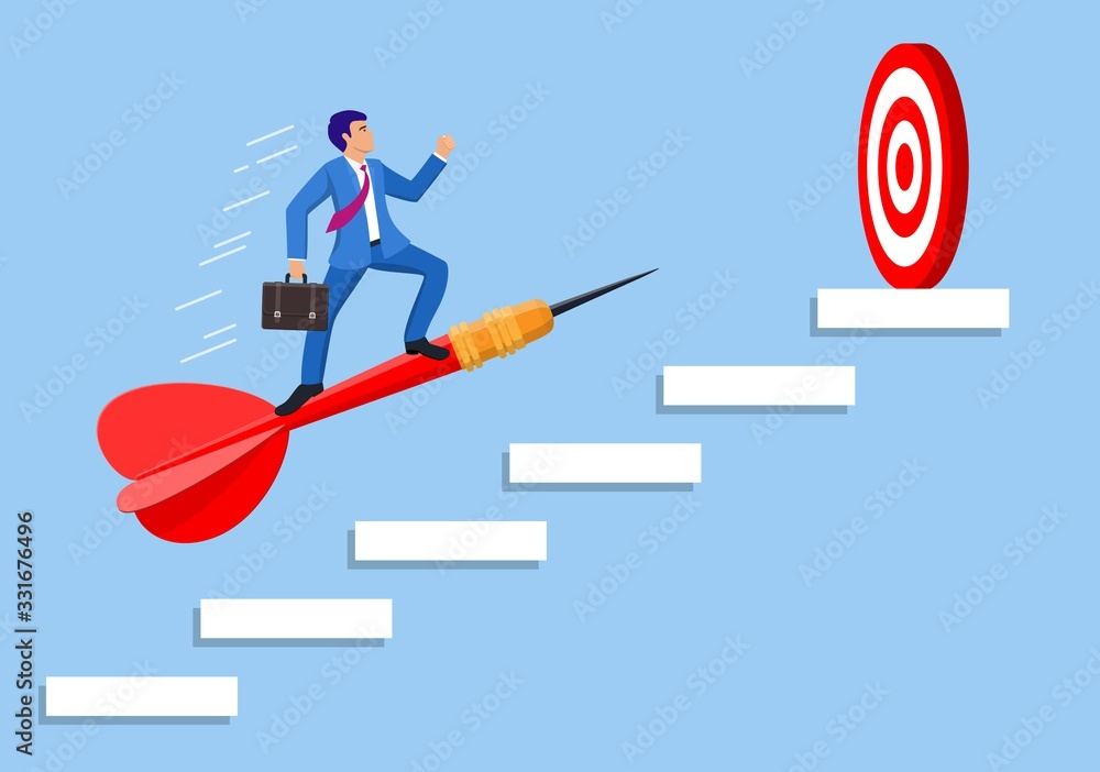 Businessman aim arrow to target on staircase going up. Goal setting. Smart goal. Business target concept. Achievement and success. Vector illustration in flat style <span>plik: #331676496 | autor: Rogatnev</span>