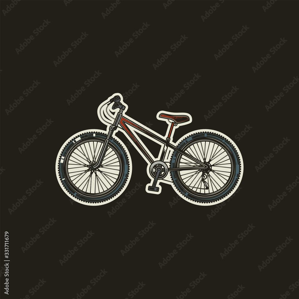 Original vector illustration, icon in retro style. Sports bicycle with large wheels. <span>plik: #331711679   autor: artmarsa</span>