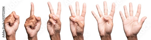 Photo five fingers count signs isolated on white background with Clipping path included