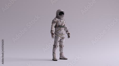 Fotografia Retro Astronaut with Black Visor and Silver White Spacesuit With Light Grey Back